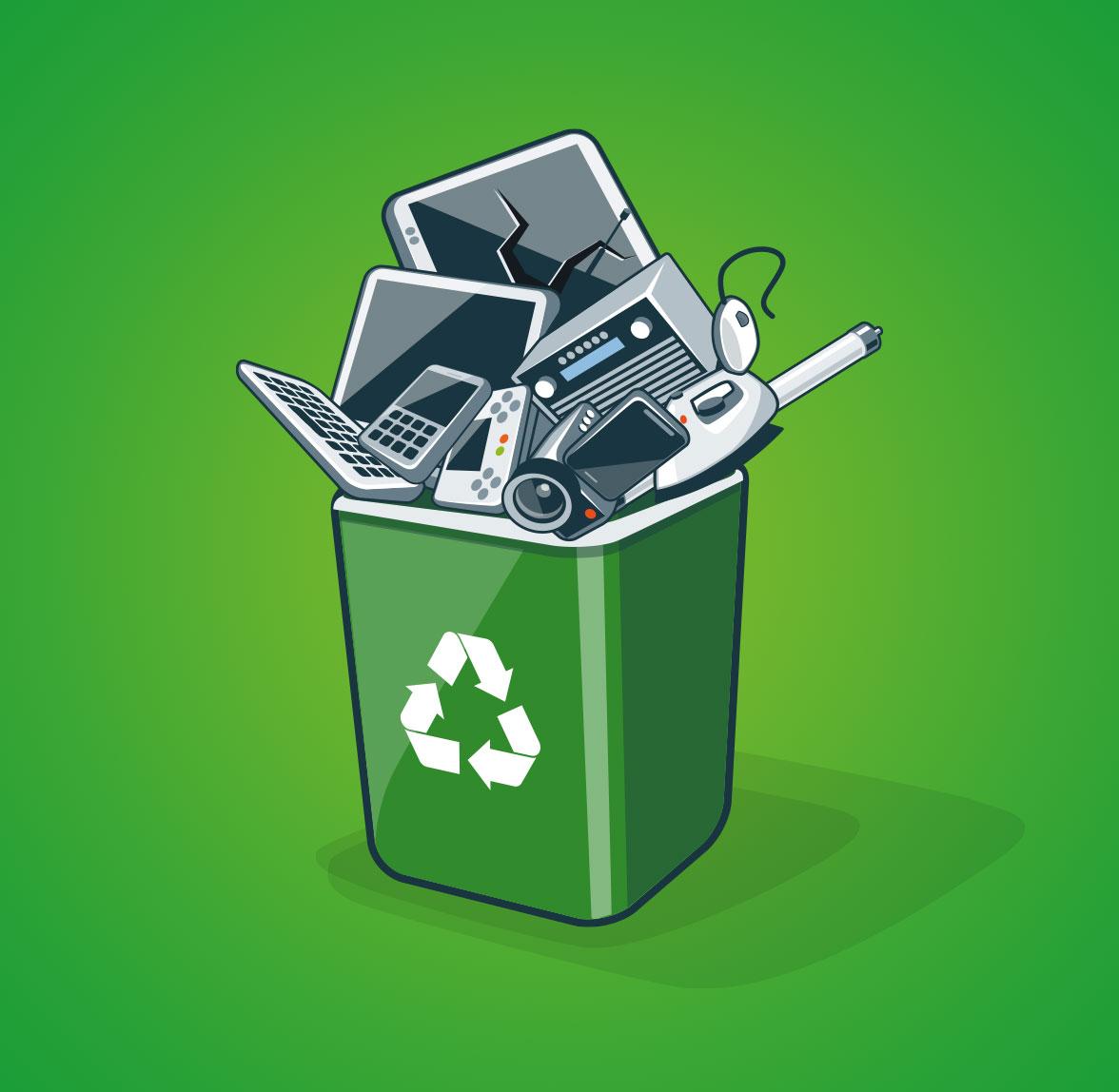 Reciclaje contenedor electrónico
